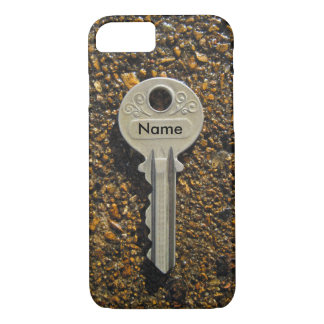 Your Name Or Initials On Vintage Key Pebbles iPhone 7 Case