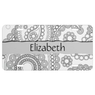 Your Name - Oriental Persian Paisley, Dots - Black License Plate