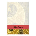 Your Name - Paisley, Flowers - Green Yellow Red Stationery Design