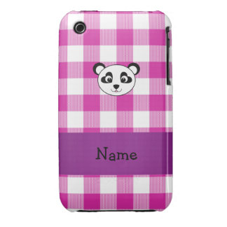 Your name panda bear head pink gingham checkers iPhone 3 Case-Mate case