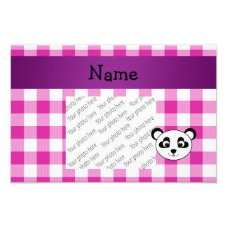Your name panda bear head pink gingham checkers photo