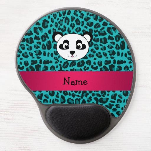 Your name panda bear head turquoise leopard gel mousepads