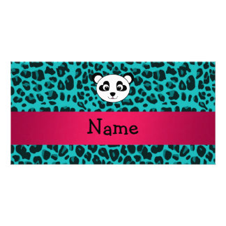 Your name panda bear head turquoise leopard photo card template