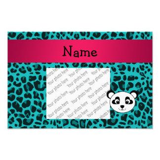 Your name panda bear head turquoise leopard photograph