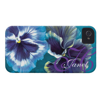 """Your name"" pansy floral aqua iphone 4 case"