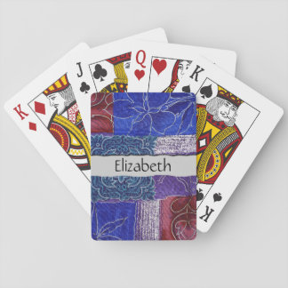 Your Name - Patchwork, Flowers, Swirls - Blue Red Playing Cards