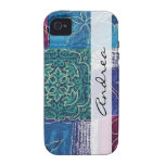 Your Name - Patchwork, Swirls - Blue Pink Green iPhone 4/4S Covers
