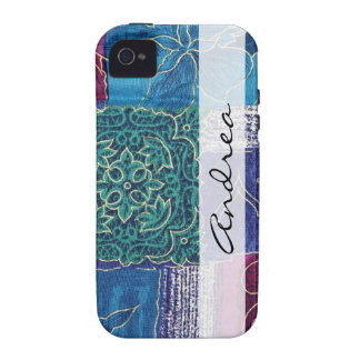 Your Name - Patchwork Swirls - Blue Pink Green iPhone 4/4S Covers