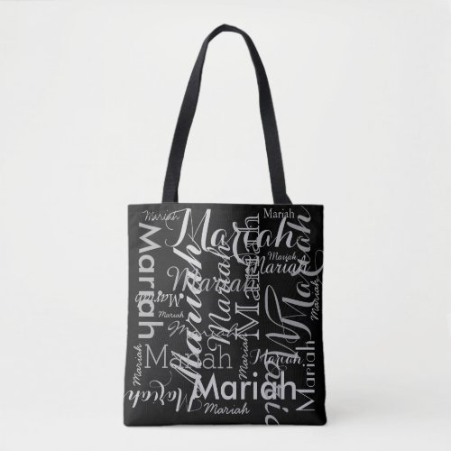 your name pattern black stylish tote bag