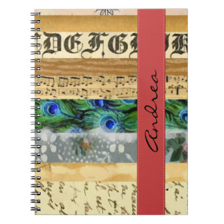 Your Name - Peacock Feathers, Flowers, Leaves Notebook