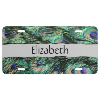 Your Name - Peacock Tail, Feathers - Green Blue License Plate