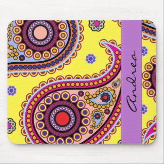 Your Name - Persian Paisley, Dots - Yellow Blue Mouse Pad