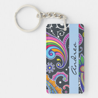 Your Name - Persian Paisley - Green Pink Blue Keychain