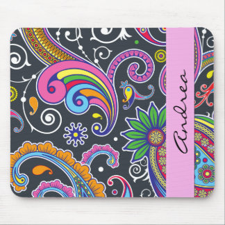 Your Name - Persian Paisley - Green Pink Blue Mouse Pad