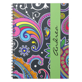 Your Name - Persian Paisley - Green Pink Blue Spiral Note Book
