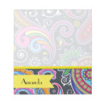 Your Name - Persian Paisley - Green Pink Blue Memo Notepads