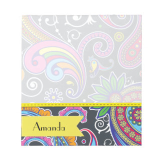 Your Name - Persian Paisley - Green Pink Blue Notepad