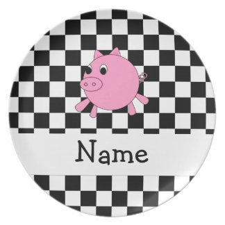 Your name pig black white checkers dinner plates