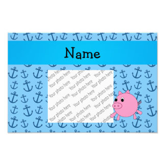 Your name pig blue anchors pattern art photo