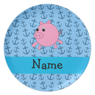 Your name pig blue anchors pattern party plate