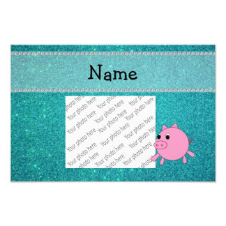Your name pig turquoise glitter photograph