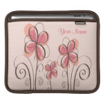 Your Name - Pink & Brown Doodle Flowers Design Sleeve For iPads