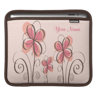 Your Name - Pink & Brown Doodle Flowers Design iPad Sleeve