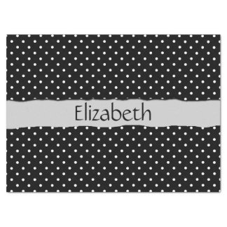 """Your Name - Polka Dots, Dotted Pattern - Black 17"""" X 23"""" Tissue Paper"""