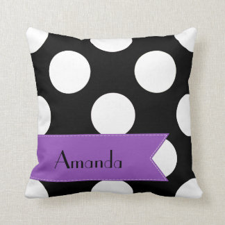 Your Name - Polka Dots, Dotted Pattern - Black Throw Pillow