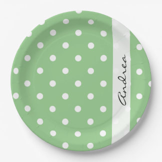 Your Name - Polka Dots (Dotted Pattern) - Green 9 Inch Paper Plate