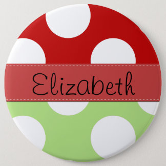 Your Name - Polka Dots, Dotted Pattern - Green Pinback Button