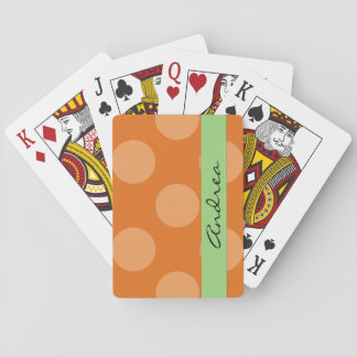 Your Name - Polka Dots, Dotted Pattern - Orange Playing Cards