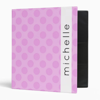 Your Name - Polka Dots, Dotted Pattern - Pink Binder