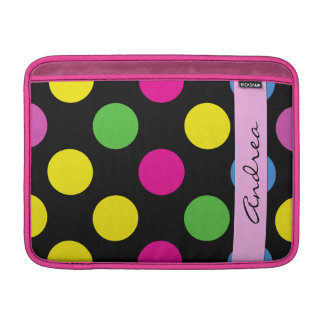 Your Name - Polka Dots, Dotted Pattern - Pink Sleeve For MacBook Air