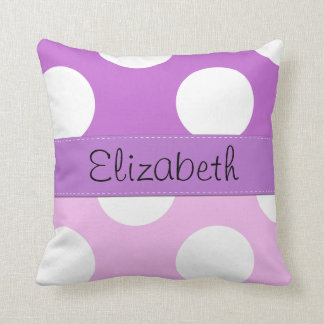 Your Name - Polka Dots, Dotted Pattern - Pink Throw Pillow