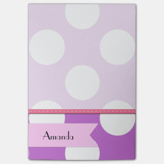 Your Name - Polka Dots (Dotted Pattern) - Purple Post-it® Notes