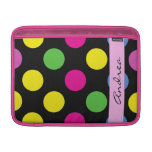 Your Name - Polka Dots (Spots) - Pink Green Yellow MacBook Sleeves