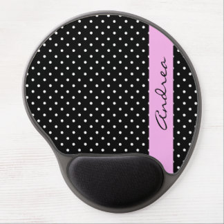 Your Name - Polka Dots, Spots - White Black Pink Gel Mouse Pad