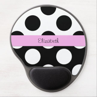 Your Name - Polka Dots, Spots - White Black Pink Gel Mousepads