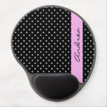 Your Name - Polka Dots, Spots - White Black Pink Gel Mouse Mat