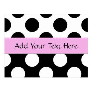 Your Name - Polka Dots, Spots - White Black Pink Postcard