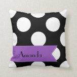 Your Name - Polka Dots, Spots - White Black Purple Throw Pillow