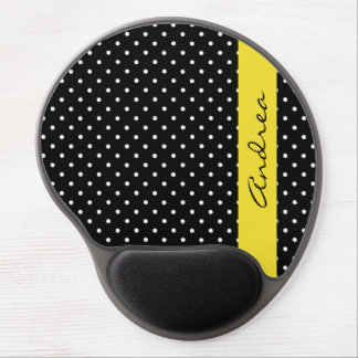 Your Name - Polka Dots, Spots - White Black Yellow Gel Mouse Pad