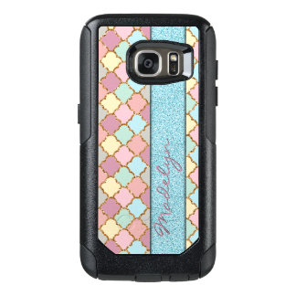 Your Name Quatrefoil Mosaic Pattern Glitter Look OtterBox Samsung Galaxy S7 Case