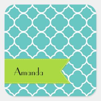 Your Name - Quatrefoil Shape - Blue White Square Sticker