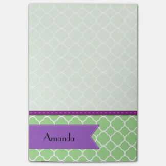 Your Name - Quatrefoil Shape - Green White Post-it® Notes