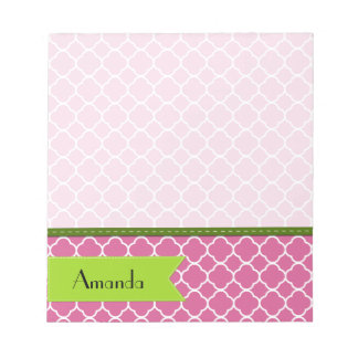 Your Name - Quatrefoil Shape - Pink White Green Notepad