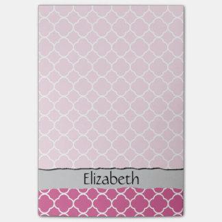 Your Name - Quatrefoil Shape - Pink White Post-it® Notes