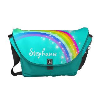 """your name"" rainbow aqua blue green kids school courier bags"