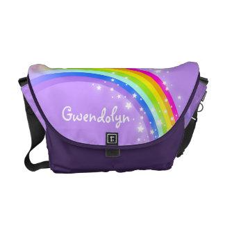 """your name"" rainbow purple kids school courier bag"